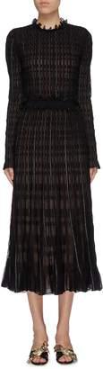 Alexander McQueen Metallic check ruffle trim knit dress