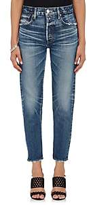 Moussy Women's Orla Distressed Jeans-Md. Blue