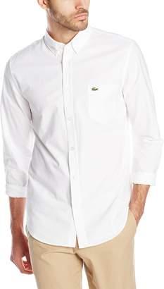 Lacoste Men's Long Sleeve Oxford Regular Fit Button Down Woven Shirt, White/White, 40