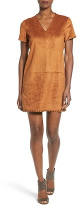 Women's Catherine Catherine Malandrino 'Marcella' Whipstitch Detail Faux Suede Shift Dress $138 thestylecure.com