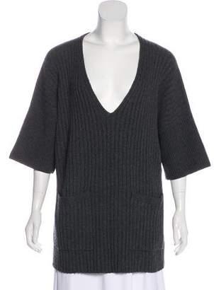 Lafayette 148 Rib Knit Short Sleeve Sweater