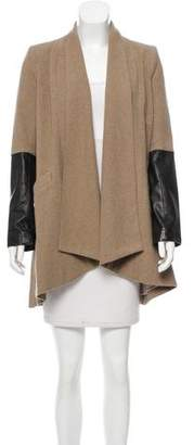 Mason Leather-Accented Wool Coat