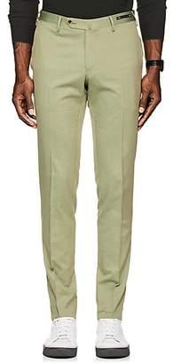 Pt01 Men's Virgin Wool-Cotton Super-Slim Trousers - Lt. Green
