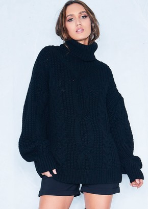 Missy Empire Missyempire Francesca Black Cable Knit Roll Neck Oversized  Jumper b0dac9cf9