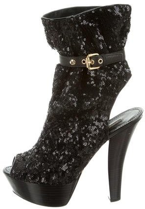 Louis Vuitton Sequined Platform Ankle Boots