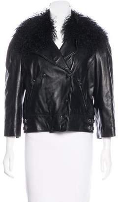 Dolce & Gabbana Fur-Trimmed Leather Jacket