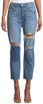 7 For All Mankind Josephina High-Waist Straight-Leg Patchwork Jeans w/ Raw-Edge Hem