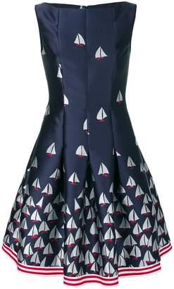 Talbot Runhof boat print flared dress