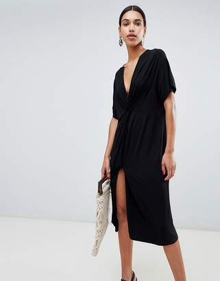 Asos Design DESIGN relaxed midi dress with knot front