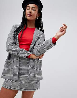 Monki check two-piece oversized blazer in gray
