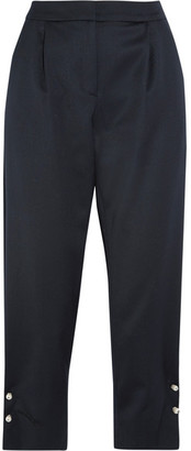 Jewell Embellished Satin Tapered Pants - Navy