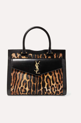 Saint Laurent Uptown East West Medium Leopard-print Calf Hair And Leather Tote - Leopard print