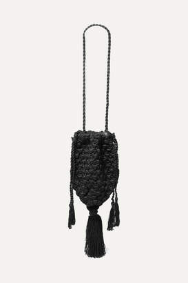 Nannacay - Marina Tasseled Crocheted Shoulder Bag - Black