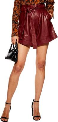 Topshop High Waist Leather Shorts