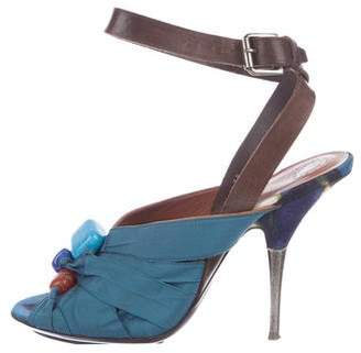 Dries Van Noten Ankle-Strap Peep-Toe Pumps