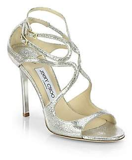 Jimmy Choo Women's Lang Crackled Mirror Leather Sandals