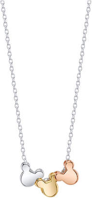 """Disney Disney's Mickey Mouse Tri-Tone Pendant Necklace for Unwritten in Gold-Flashed Sterling Silver, 16"""" + 2"""" Extender"""