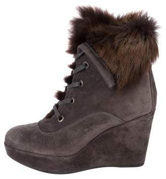 Stuart Weitzman Faux Fur-Trimmed Wedge Boots