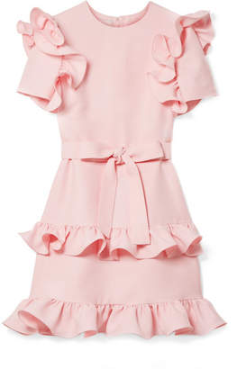 Valentino Ruffled Wool And Silk-blend Crepe Mini Dress - Pastel pink