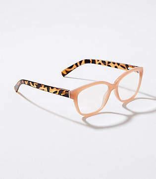 LOFT Tortoiseshell Print Arm Rectangle Reading Glasses