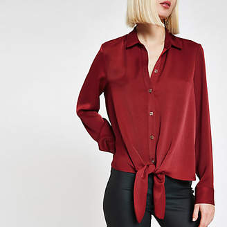 River Island Womens Red tie front loose shirt