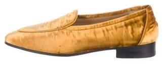The Row Velvet Round-Toe Loafers