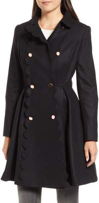 Ted Baker Scallop Trim Wool Blend Coat