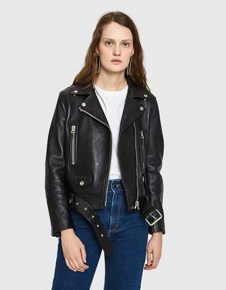 Acne Studios Leather Mock Motorcycle Jacket in Black