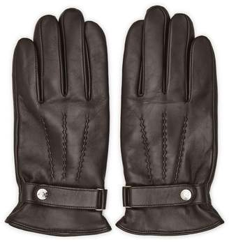 Reiss FOSTER Button Leather Gloves