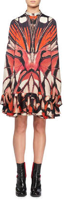 Alexander McQueen Long-Sleeve Painted Lady Butterfly Print Silk Mini Dress w/ Ruffled Hem