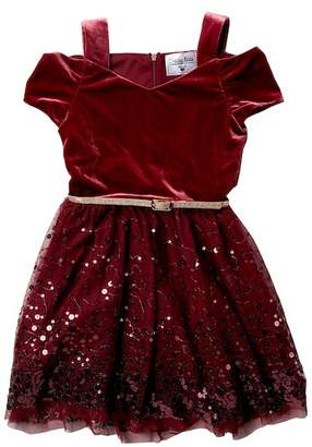 Beautees Velvet Top Sequin Bottom Cold Shoulder Belted Dress (Big Girls)