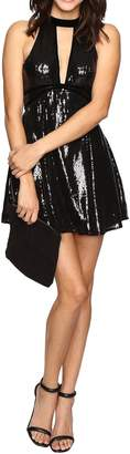 Free People Womens Sequined Velvet Trim Party Dress