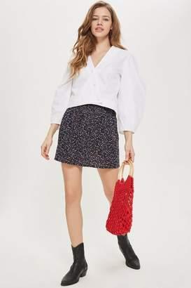 Topshop Floral Print Shirred Mini Skirt