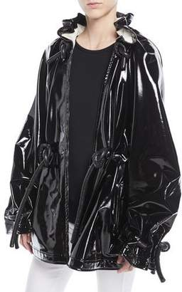 Rosetta Getty Zip-Front Corded Drawstring Lacquered Terry Short Anorak Jacket