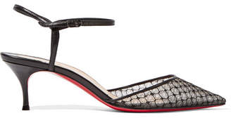 Christian Louboutin - Riverina 55 Leather-trimmed Embroidered Mesh Pumps - Black $825 thestylecure.com