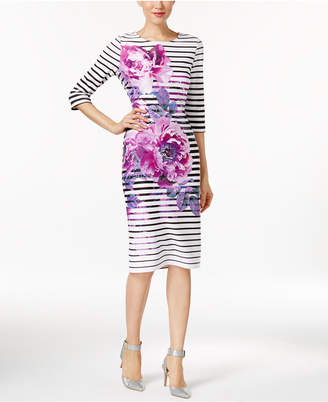 ECI Striped Floral-Print Sheath Dress $70 thestylecure.com