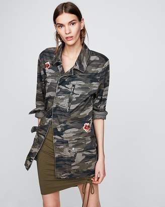 Express Embroidered Camo Military Jacket