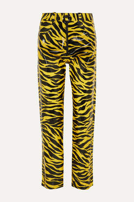 Kwaidan Editions Tiger-print Pu Straight-leg Pants - Yellow