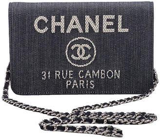 One Kings Lane Vintage Chanel Denim & Leather Crossbody Bag