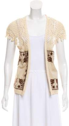 Dries Van Noten Linen-Blend Crochet-Accented Vest