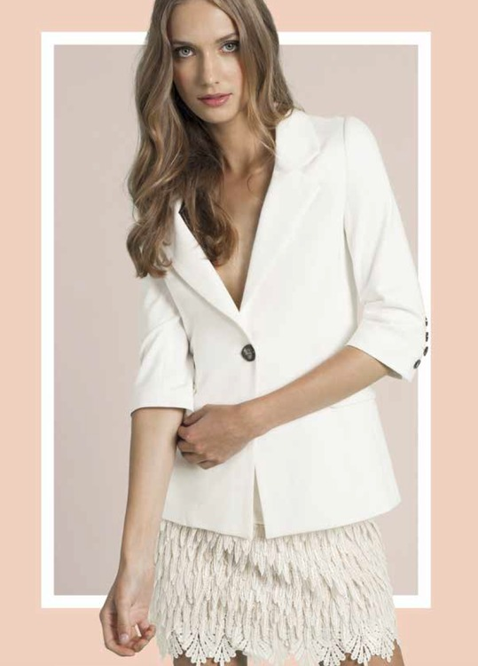 Chris Gramer - Hailey Tailored Crop Blazer in Cream