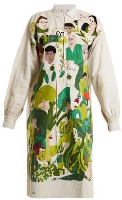 Kilometre Paris - Place Monge Embroidered Linen Shirtdress - Womens - White Multi