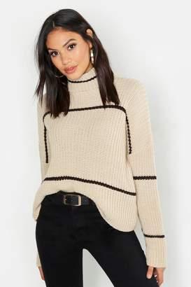 boohoo Tall Roll Neck Stripe Crop Sweater