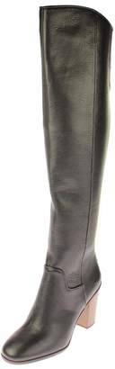 Franco Sarto Sarto by  Womens Faye Leather Over-The-Knee Boots Black 6.5 Medium (B,M)