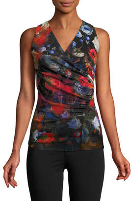 Fuzzi Sleeveless Floral-Print Top