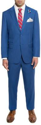 English Laundry Blue Pinstripe Two Button Peak Lapel Trim Fit Suit