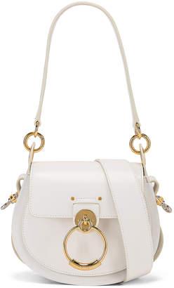 Chloé Small Tess Shiny Calfskin Shoulder Bag in Brilliant White | FWRD