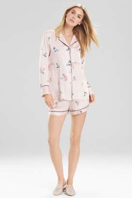 Natori Papillon Printed Feathers Satin Short PJ Set