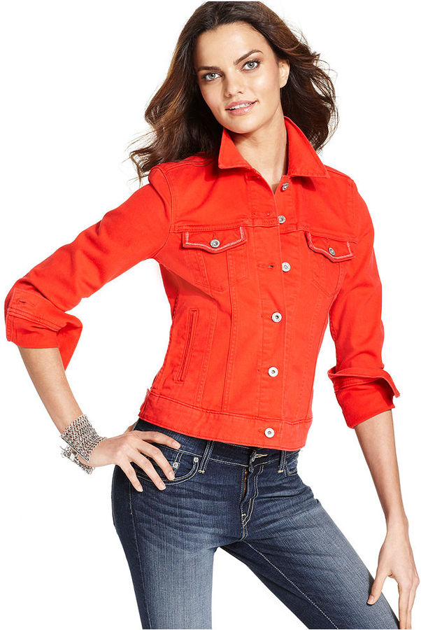 Levi's Jacket, Denim Colored, Hot Red Wash