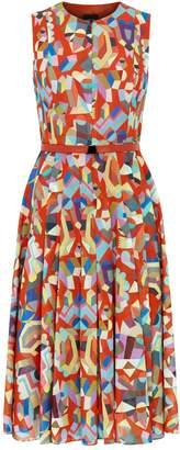 Akris Geometric Print Pleated Dress